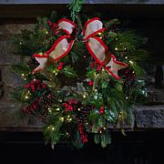 """As Is"" American Tree & Wreath 24"" Pinecone Berry Wreath"