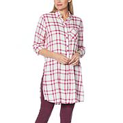 """""""As Is"""" G by Giuliana Tie-Front Flannel Tunic"""