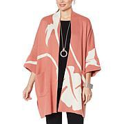 """As Is"" MarlaWynne Jacquard Knit Drama Kimono Topper"