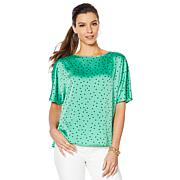 """As Is"" Vince Camuto Hammered Satin Pleated Back Blouse"
