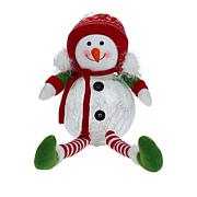"""""""As Is"""" Winter Lane Glass LED Sitting Snowman with Timer"""