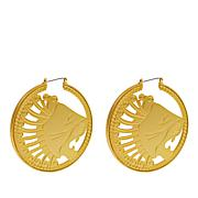 Asa Jewelry Goldtone Lion Cutout Hoop Earrings