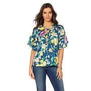 B Collection by Bobeau Flutter-Sleeve Lace-Up Blouse