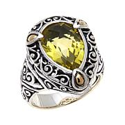 Bali Designs 4.01ct Lemon Quartz 2-Tone Pear Ring