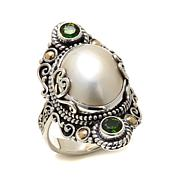 Bali Designs Mabé Pearl and Gemstone 2-Tone Ring