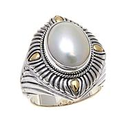 Bali Designs Oval Cultured Mabé Pearl 2-Tone Ring