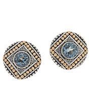 Bali Designs Sterling Silver and 18K Gem Popcorn Pattern Stud Earrings