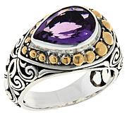 Bali RoManse Sterling Silver and 18K Amethyst Scrollwork Ring
