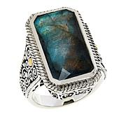 Bali RoManse Sterling Silver and 18K Labradorite Scrollwork Ring