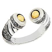 Bali RoManse Sterling Silver and 18K White Zircon Cable Cuff Ring