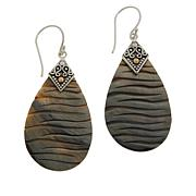 Bali RoManse Sterling Silver Mother-of-Pearl Carved Pear Drop Earrings