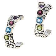 Bali RoManse Sterling Silver Multi-Gemstone Scroll Hoop Earrings