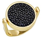 Bellezza 50 Lira Micro Coin and Black Spinel Bronze Flip Ring