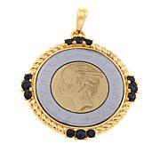 Bellezza 500 Lira Coin Black Spinel Bronze Torchon Pendant