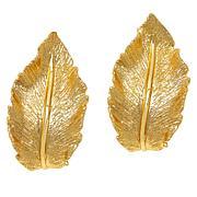 Bellezza Bronze Textured Leaf Earrings
