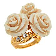 Bellezza CZ Bronze and Ivory-Color Resin Rose Ring