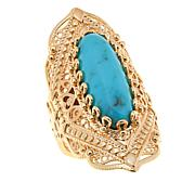 Bellezza Turquoise Bronze Filigree Shield Ring