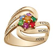 Birthstone Crystal Goldtone Sterling Silver Swirl Family Ring