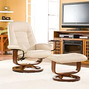 Bonded/Reconstituted Leather Recliner and Ottoman