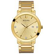 Bulova Goldtone Stainless Steel Men's Diamond Bracelet Watch