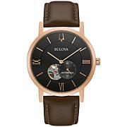 Bulova Rosetone Men's Brown Leather Strap Automatic Watch
