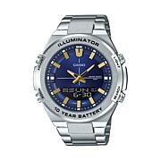 Casio Men's Multi-Function Stainless Steel Watch, Blue Dial