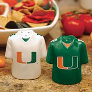 Ceramic Salt and Pepper Shakers - Miami Hurricanes