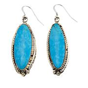 Chaco Canyon Elongated Oval Kingman Turquoise Sterling Silver Earrings