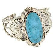 Chaco Canyon Sterling Silver Navajo Kingman Turquoise Cuff