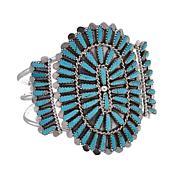 Chaco Canyon Sterling Silver Zuni Kingman Turquoise Cuff Bracelet