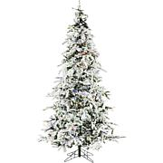 Christmas Time 7.5' Snowy Artificial Christmas Tree, MultiColor Lig...