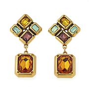 "CLB NYC ""Formation"" Multi Crystal Goldtone Drop Earrings"