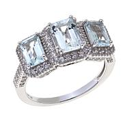 Colleen Lopez 2.29ctw Aquamarine & Zircon 3-Stone Ring