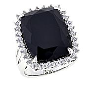 Colleen Lopez 23ctw Black Spinel and White Zircon Ring