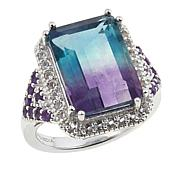 Colleen Lopez 9.09ctw Bicolor Fluorite and Gem Sterling Silver Ring