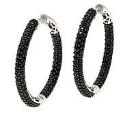 Colleen Lopez Black Spinel Inside-Outside Hoop Earrings