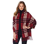 Colleen Lopez Classically Plaid KnitTopper with Fringe