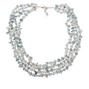 Colleen Lopez Cultured Pearl and Aquamarine 4-Strand Necklace