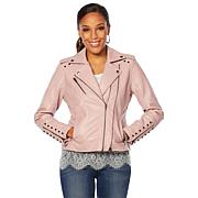 317ee1a1de4e Colleen Lopez Embroidered Denim Moto Jacket - 8841801