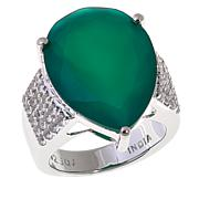 Colleen Lopez Green Onyx and White Topaz Ring