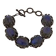 Colleen Lopez Labradorite and Ruby Sterling Silver Toggle Bracelet