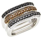 Colleen Lopez Set of 3 Colored Diamond Square Stack Rings