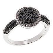 Colleen Lopez Sterling Silver 0.33ctw Black & White Pavé Diamond Ring