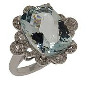 Colleen Lopez Sterling Silver Aquamarine and White Sapphire Ring