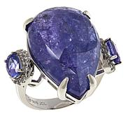 Colleen Lopez Sterling Silver Tanzanite and White Topaz Ring