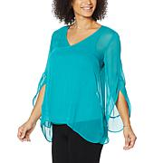 Colleen Lopez Woven Flutter-Sleeve Sharkbite Top with Cami