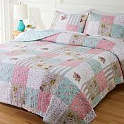 Cottage Collection 100% Cotton Stitched 3-pc Quilt Set - Patchwork