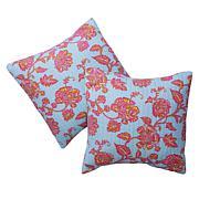 Cottage Collection 100% Cotton Stitched Euro Sham 2-pk - Blue Floral