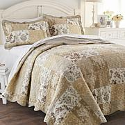 Cottage Neutral Print 100% Cotton 3pc Quilt Set