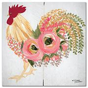 Courtside Market Floral Rooster On White 16x16 Canvas Wall Art